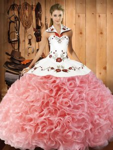 Sleeveless Floor Length Embroidery Lace Up Quinceanera Gown with Watermelon Red