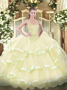 Fashionable Sleeveless Floor Length Beading and Ruffled Layers Zipper Sweet 16 Dress with Light Yellow