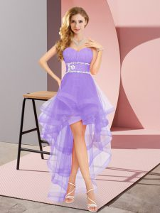 Cheap Lavender Tulle Lace Up Sweetheart Sleeveless High Low Quinceanera Dama Dress Beading