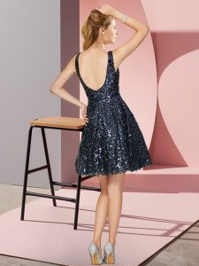 Customized Sequined Scoop Sleeveless Zipper Sequins Damas Dress in Black And Purple