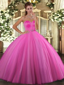 Delicate Floor Length Rose Pink Sweet 16 Dresses Tulle Sleeveless Beading