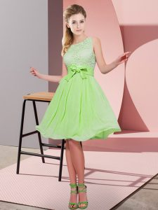 Scoop Sleeveless Chiffon Quinceanera Dama Dress Lace and Bowknot Side Zipper