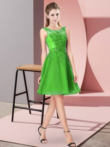 Traditional Knee Length Green Vestidos de Damas Scoop Sleeveless Zipper