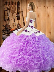 Suitable Halter Top Sleeveless Quinceanera Dress Floor Length Embroidery Apple Green Fabric With Rolling Flowers