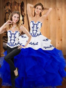 Sleeveless Lace Up Floor Length Embroidery and Ruffles Sweet 16 Dress