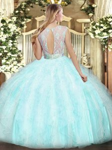 Hot Selling Light Yellow Scoop Backless Lace and Ruffles Sweet 16 Quinceanera Dress Sleeveless