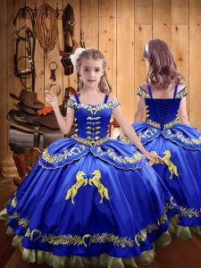 Floor Length Ball Gowns Sleeveless Royal Blue Ball Gown Prom Dress Lace Up
