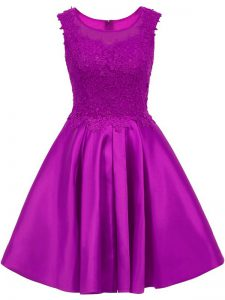 Eggplant Purple Scoop Zipper Lace Vestidos de Damas Sleeveless