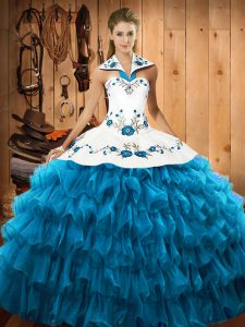 Dramatic Halter Top Sleeveless Quinceanera Gown Floor Length Embroidery and Ruffled Layers Teal Organza