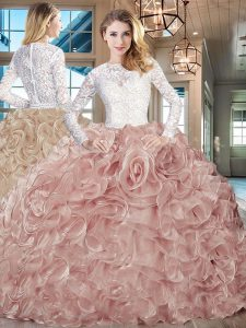 Pink And White Long Sleeves Brush Train Beading and Ruffles 15 Quinceanera Dress