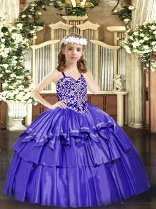 Best Sleeveless Floor Length Beading and Ruffled Layers Lace Up Kids Pageant Dress with Lavender