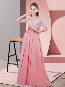 Best Scoop 3 4 Length Sleeve Dama Dress for Quinceanera Floor Length Lace and Belt Watermelon Red Chiffon