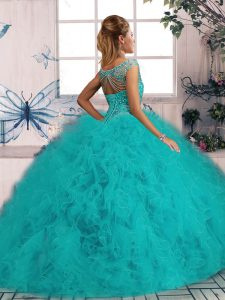 Tulle Sleeveless Quinceanera Dresses Brush Train and Beading and Ruffles