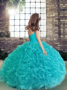 Floor Length Lace Up Pageant Dress Blue for Party and Wedding Party with Beading and Ruching