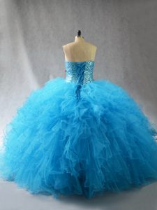 Baby Blue Sweetheart Neckline Beading and Ruffles 15 Quinceanera Dress Sleeveless Lace Up