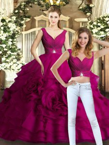 V-neck Sleeveless Backless Quince Ball Gowns Fuchsia Organza