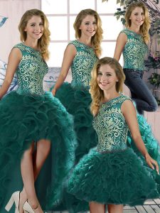 Floor Length Peacock Green Sweet 16 Dresses Scoop Sleeveless Lace Up
