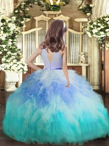Stylish Multi-color High-neck Backless Ruffles Pageant Gowns Sleeveless