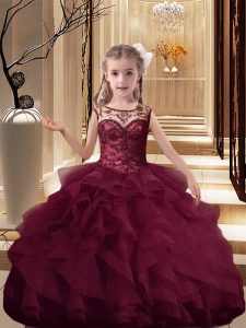 Fashionable Burgundy Ball Gowns Scoop Sleeveless Organza Brush Train Lace Up Beading and Ruffles Girls Pageant Dresses