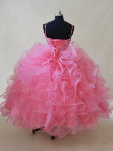 Pink Lace Up Kids Formal Wear Beading and Ruffles Sleeveless Floor Length