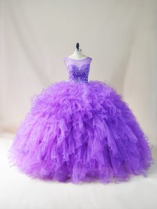 Luxury Floor Length Lace Up Sweet 16 Quinceanera Dress Purple for Sweet 16 and Quinceanera with Beading and Ruffles