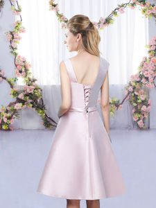 Baby Pink Quinceanera Court of Honor Dress Wedding Party with Bowknot Asymmetric Sleeveless Lace Up