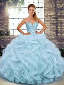 New Style Sleeveless Floor Length Beading and Ruffles Lace Up Quinceanera Gown with Light Blue