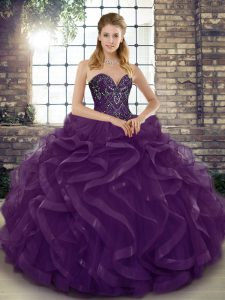 Sleeveless Tulle Floor Length Lace Up Quinceanera Gowns in Dark Purple with Beading and Ruffles