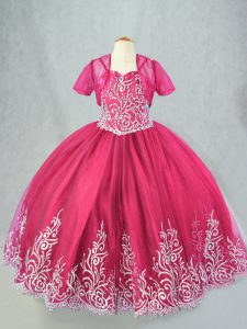 Discount Hot Pink Lace Up Spaghetti Straps Beading and Embroidery Little Girl Pageant Gowns Tulle Sleeveless