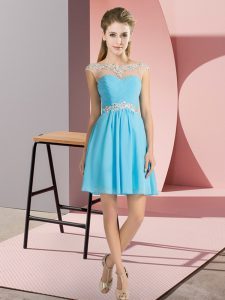 Dynamic Aqua Blue Empire Bateau Cap Sleeves Chiffon Mini Length Lace Up Beading Damas Dress