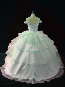 Stunning Apple Green Lace Up Quinceanera Dress Beading and Ruffled Layers Sleeveless Brush Train