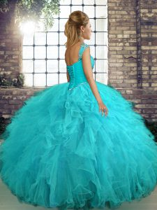 Orange Ball Gowns Tulle Off The Shoulder Sleeveless Beading and Ruffles Floor Length Lace Up Sweet 16 Quinceanera Dress