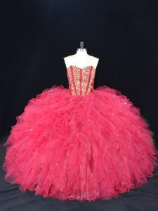 Traditional Tulle Sweetheart Sleeveless Lace Up Beading and Ruffles Quinceanera Gowns in Coral Red