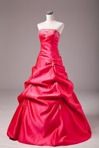 Hot Pink Lace Up Strapless Beading and Appliques Quinceanera Dresses Taffeta Sleeveless
