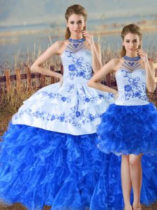 Floor Length Blue And White Ball Gown Prom Dress Organza Sleeveless Embroidery and Ruffles