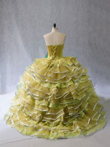 Modest Olive Green Ball Gowns Tulle Sweetheart Sleeveless Appliques and Ruffles Lace Up Sweet 16 Dress Brush Train