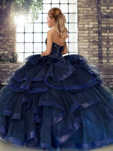 Shining Ball Gowns Sweet 16 Dress Dark Purple Sweetheart Tulle Sleeveless Floor Length Lace Up