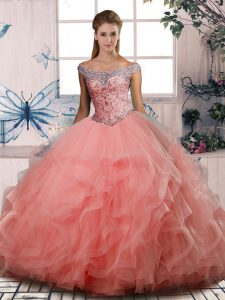 Nice Watermelon Red Ball Gowns Off The Shoulder Sleeveless Tulle Floor Length Lace Up Beading 15 Quinceanera Dress