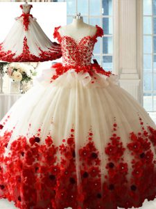 Custom Fit White And Red Sleeveless Brush Train Hand Made Flower Quinceanera Gowns
