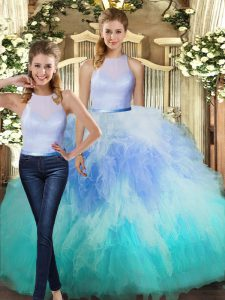 Hot Sale Sleeveless Floor Length Ruffles Backless 15th Birthday Dress with Multi-color