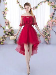 A-line Dama Dress for Quinceanera Wine Red Sweetheart Tulle Sleeveless High Low Lace Up