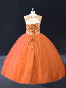 Orange Tulle Lace Up Quinceanera Dress Sleeveless Floor Length Beading