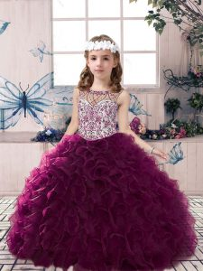 On Sale Sleeveless Floor Length Beading and Ruffles Lace Up Little Girl Pageant Dress with Dark Purple