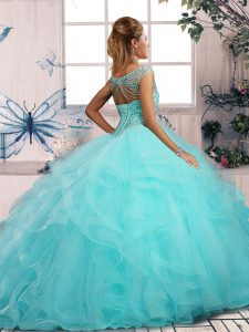 Sleeveless Tulle Floor Length Lace Up 15 Quinceanera Dress in Gold with Beading and Ruffles
