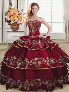 Most Popular Sweetheart Sleeveless Lace Up Sweet 16 Dress Wine Red Organza