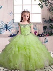 Yellow Green Sleeveless Floor Length Beading and Ruffles Lace Up Little Girl Pageant Gowns