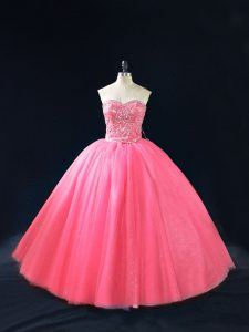 Sleeveless Side Zipper Floor Length Beading Quinceanera Dresses
