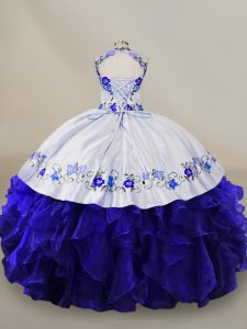 Blue And White Halter Top Lace Up Embroidery and Ruffles Quinceanera Dress Sleeveless