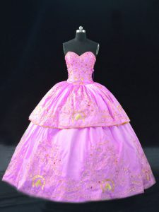 Satin Sleeveless Floor Length Sweet 16 Dresses and Embroidery
