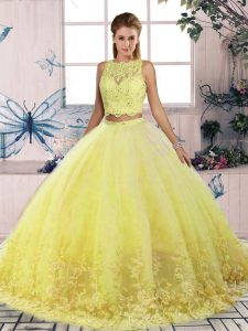Customized Yellow Backless Scalloped Lace Ball Gown Prom Dress Tulle Sleeveless Sweep Train